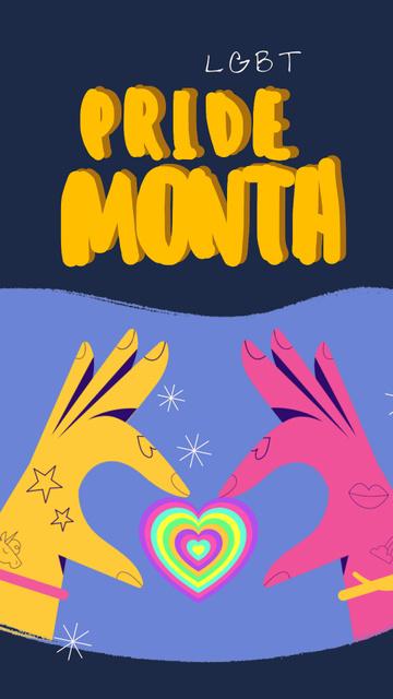 Pride Month Hands holding Rainbow Heart Instagram Video Story – шаблон для дизайну