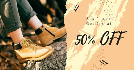 Special Discount Offer on Hiking Shoes Facebook AD – шаблон для дизайну