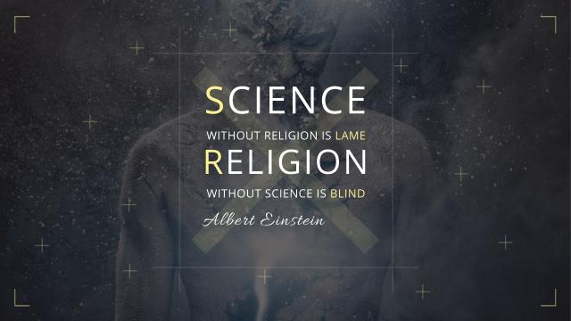 Plantilla de diseño de Citation about science and religion Youtube