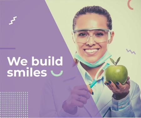 Template di design Dental Clinic Doctor holding apple Facebook