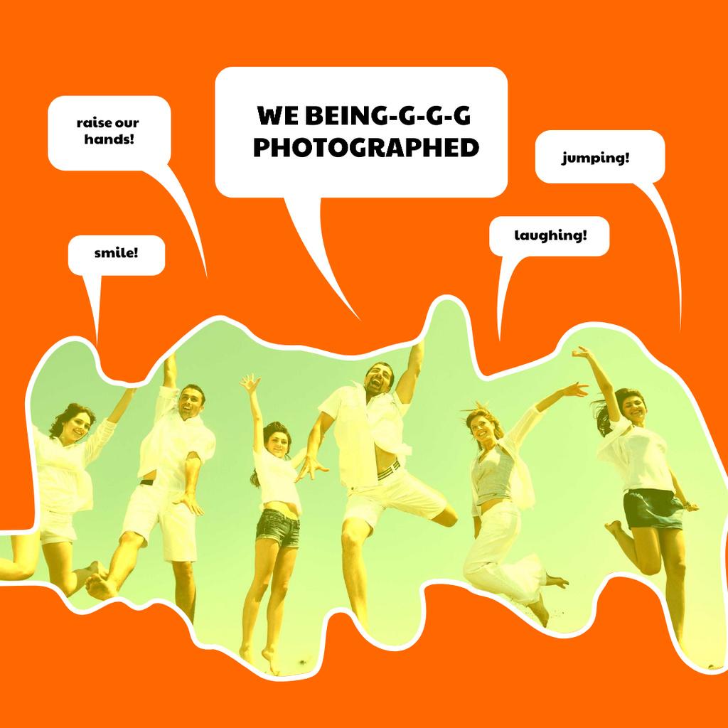 Designvorlage Cheerful Friends jumping together für Instagram