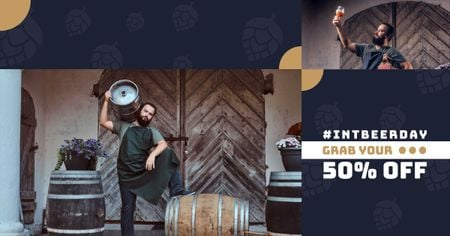 Plantilla de diseño de Beer Day Offer with Brewer holding Barrels Facebook AD