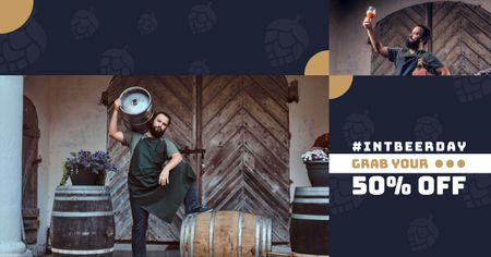Template di design Beer Day Offer with Brewer holding Barrels Facebook AD