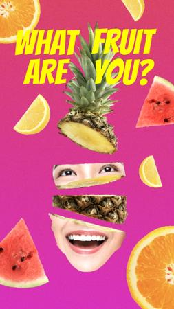 Plantilla de diseño de Funny Pineapple Face with Human Eyes and Mouth Instagram Story