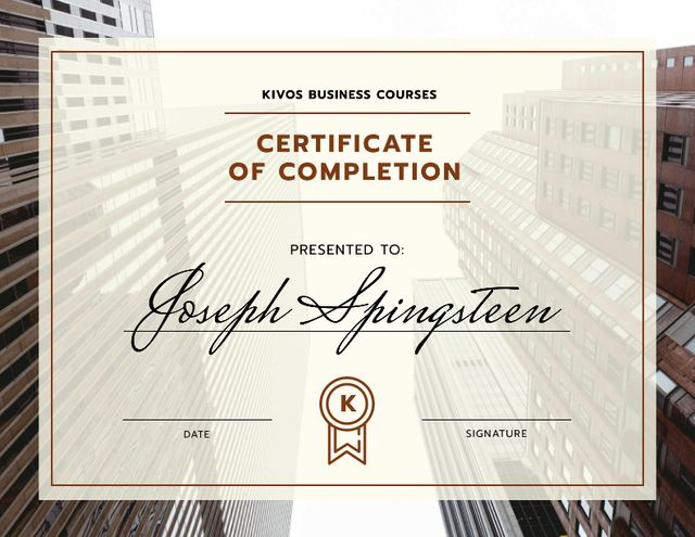 Business Courses Program Completion with modern buildings Certificate Design Template