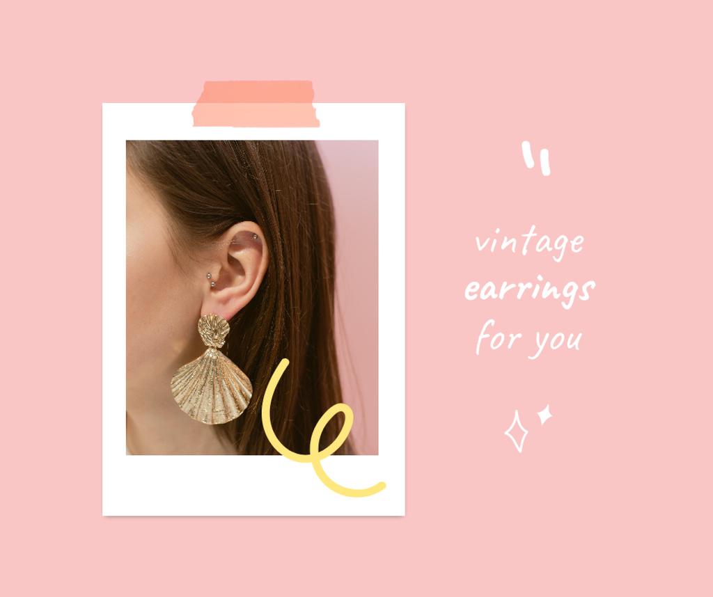 Ontwerpsjabloon van Facebook van Vintage Earrings Sale Offer