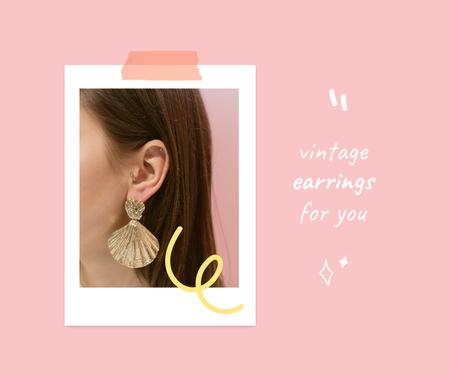 Vintage Earrings Sale Offer Facebook – шаблон для дизайну