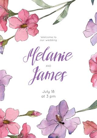 Designvorlage Wedding Invitation in Frame with saffron flowers für Poster