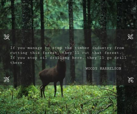Nature Quote Wild Deer with Antlers Facebook – шаблон для дизайну