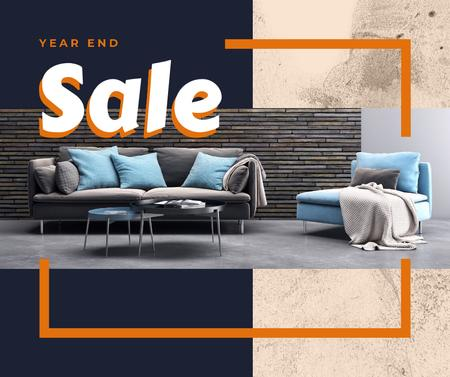 Year end Furniture sale interior in grey Facebookデザインテンプレート