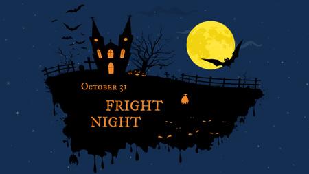 Halloween Night with Scary Castle FB event cover Modelo de Design