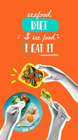 Designvorlage Funny Joke about Diet with Dishes on Plates für Instagram Story