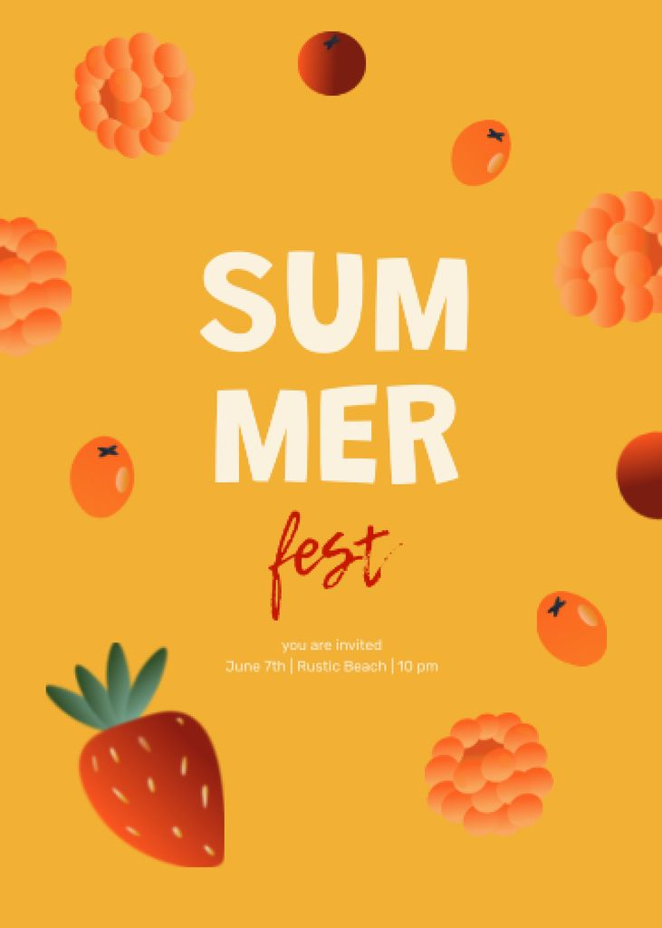 Plantilla de diseño de Summer Festival Announcement with Berries Illustration Invitation
