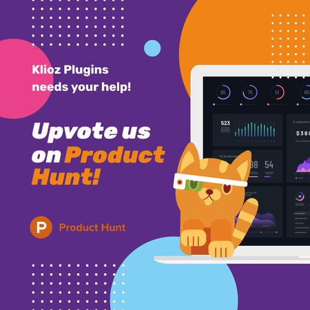 Product Hunt App with Stats on Screen Animated Postデザインテンプレート