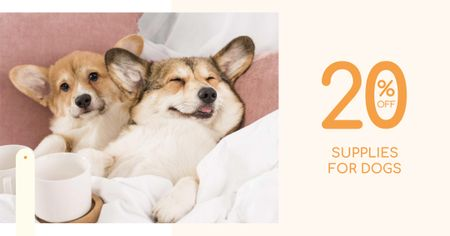 Supplies for Dogs Discount Offer with Cute Corgi Facebook AD – шаблон для дизайна