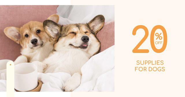 Plantilla de diseño de Supplies for Dogs Discount Offer with Cute Corgi Facebook AD