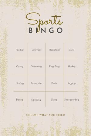 Designvorlage Sports Bingo List für Pinterest