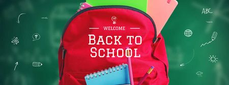 Back to School Offer with Red Backpack Facebook cover Modelo de Design