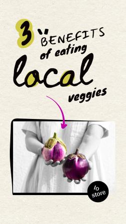 Modèle de visuel Woman holding Fresh Eggplants - Instagram Story