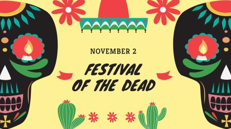 Festival of the Dead Bright Announcement FB event cover – шаблон для дизайну