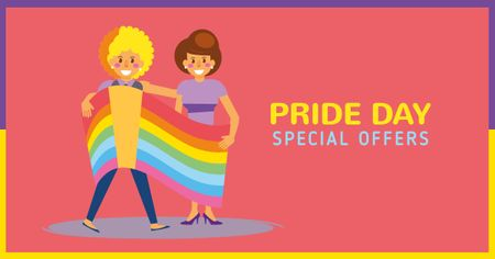 Designvorlage Pride Day Special Offer with LGBT Couple für Facebook AD