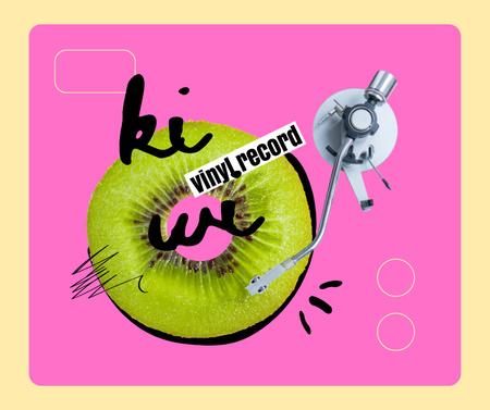 Plantilla de diseño de Vintage Record Player playing on Slice of Kiwi Facebook