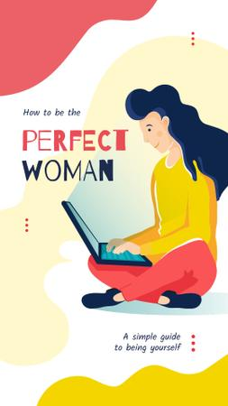 Woman working on laptop Instagram Storyデザインテンプレート