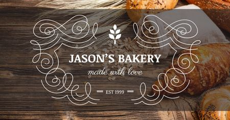 Plantilla de diseño de Bakery advertisement with Fresh Buns Facebook AD