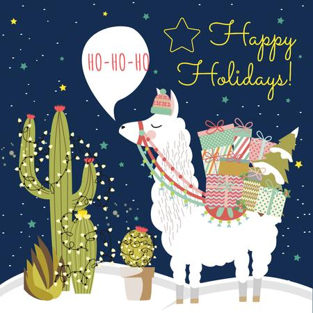 Happy Holidays Greeting with Lama holding Gifts Instagram Modelo de Design