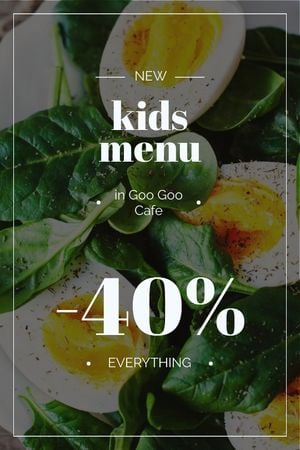 Kids Menu Offer Boiled Eggs with Spinach Tumblr Design Template
