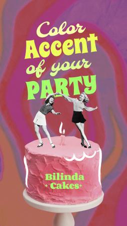 Modèle de visuel Funny Girls dancing on Pink Cake - Instagram Story