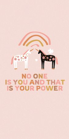 Girl Power Inspiration with Cute Unicorns Graphic Design Template