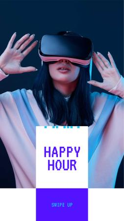 Virtual Reality Happy Hour Ad with Girl in Glasses Instagram Story Modelo de Design
