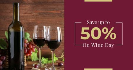 Plantilla de diseño de Wine Day Offer with Bottle and Glasses Facebook AD