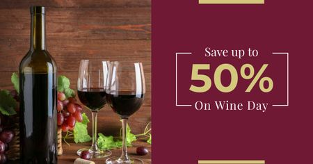 Modèle de visuel Wine Day Offer with Bottle and Glasses - Facebook AD