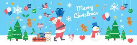 Christmas Holiday Greeting Santa Delivering Gifts Twitterデザインテンプレート