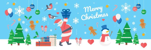 Christmas Holiday Greeting Santa Delivering Gifts Twitter Design Template