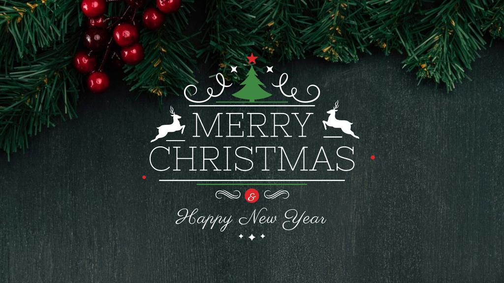 Christmas Greeting with Fir Tree Branches — Crea un design