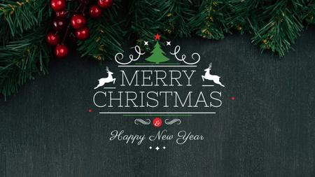 Template di design Christmas Greeting with Fir Tree Branches Youtube