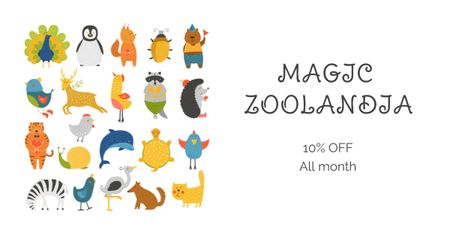 Zoo Tickets Discount Offer with Animals icons Facebook AD Tasarım Şablonu