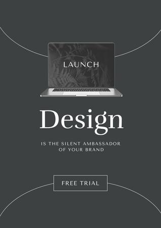 Modèle de visuel App Launch Announcement with Laptop Screen - Poster