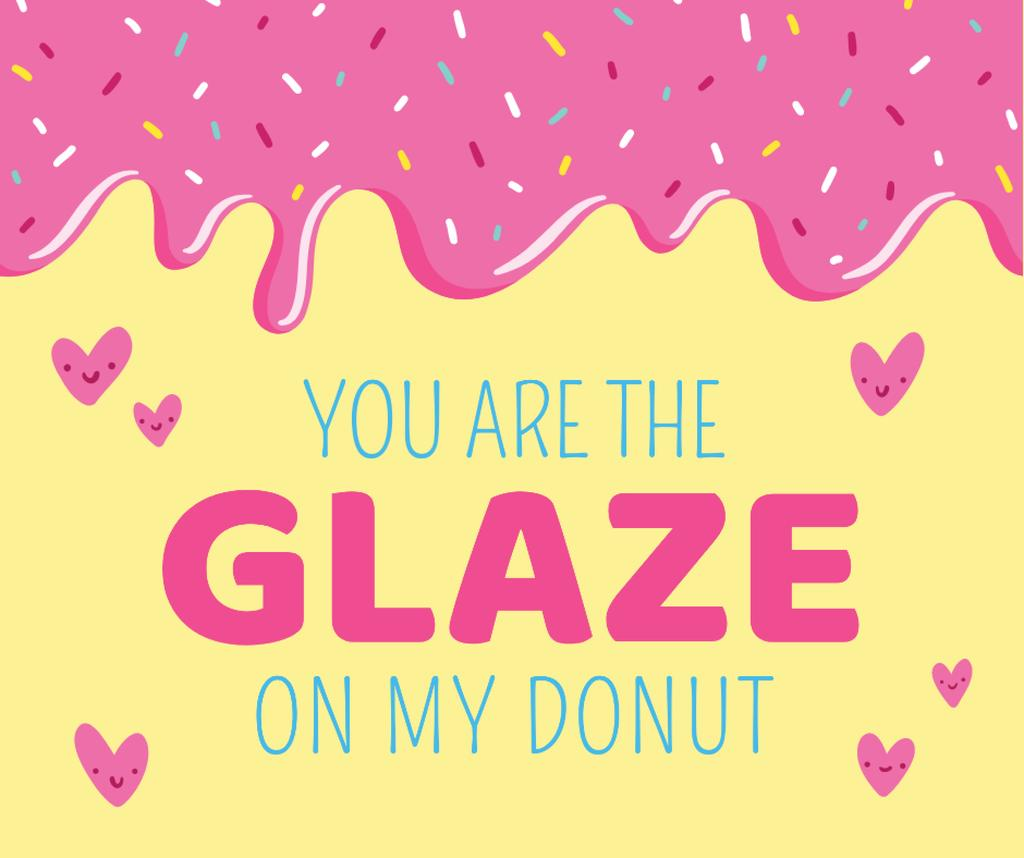 Valentine's Day Donut with Hearts in Pink Facebook Tasarım Şablonu