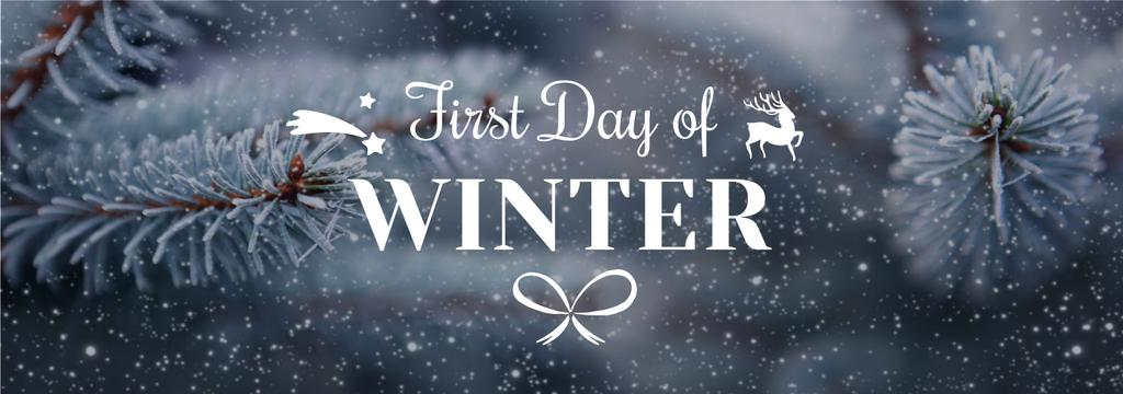 First Day of Winter Greeting Frozen Fir — Crea un design
