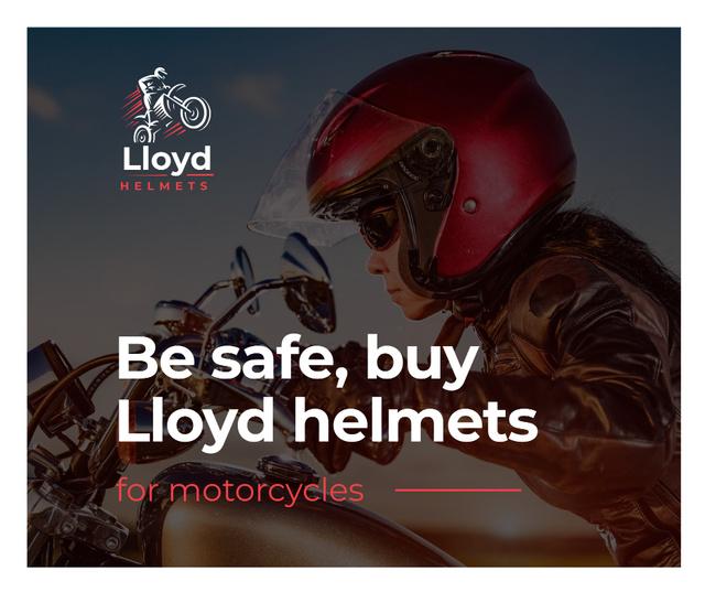 Bikers Helmets Promotion Woman on Motorcycle Facebook – шаблон для дизайну