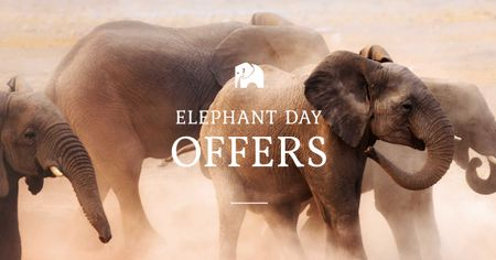 Modèle de visuel Elephant Day Offer with Elephants - Facebook AD