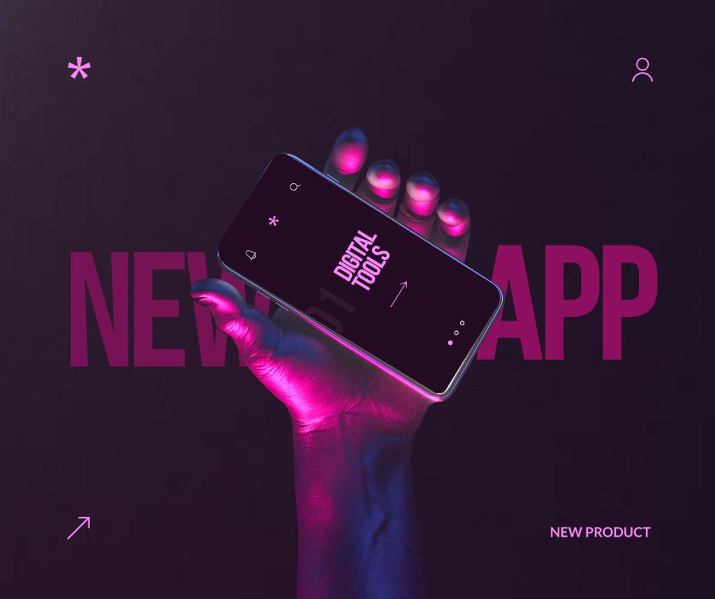 New App Announcement with Hand holding Modern Smartphone Facebook Modelo de Design