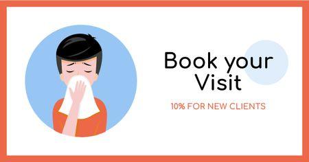 Designvorlage Clinic visit offer with Man sneezing für Facebook AD