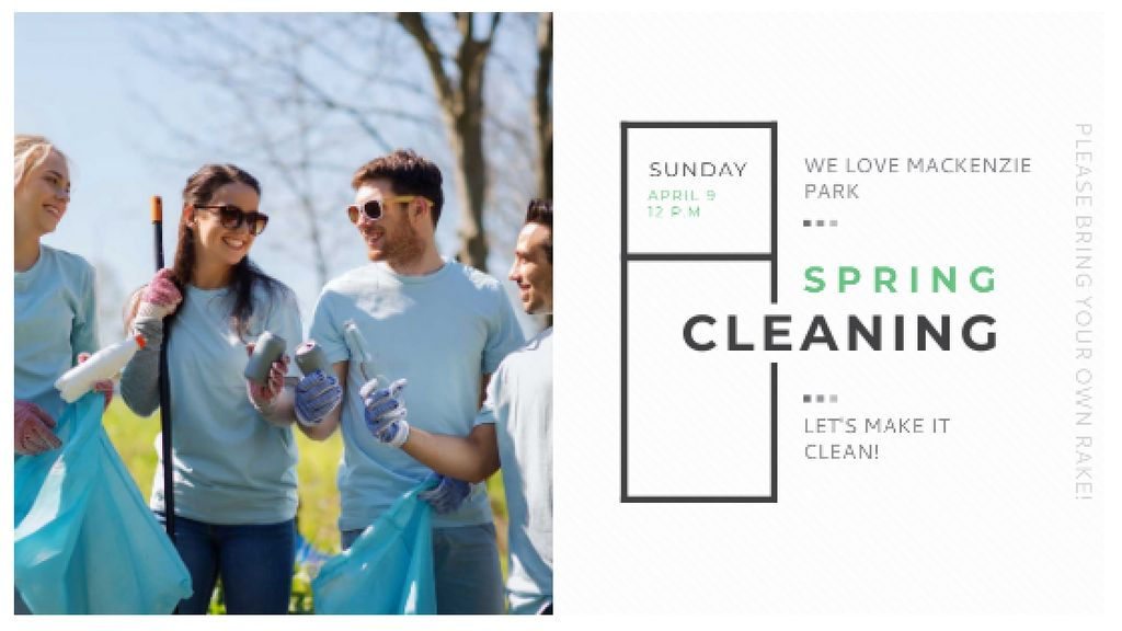 Ecological Event Volunteers Collecting Garbage — Crea un design