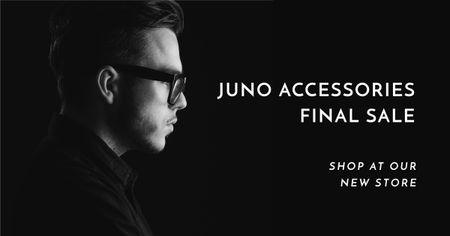 Modèle de visuel Accessories Sale Offer with Man in Stylish Glasses - Facebook AD