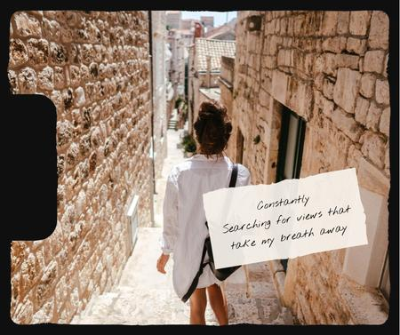 Girl walking in old city Facebook Design Template